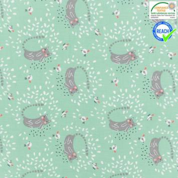 Coton menthe motif itchy taupe