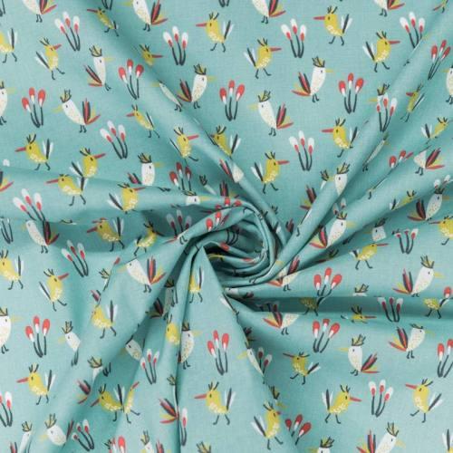 Coton bleu givré motif picaf ocre