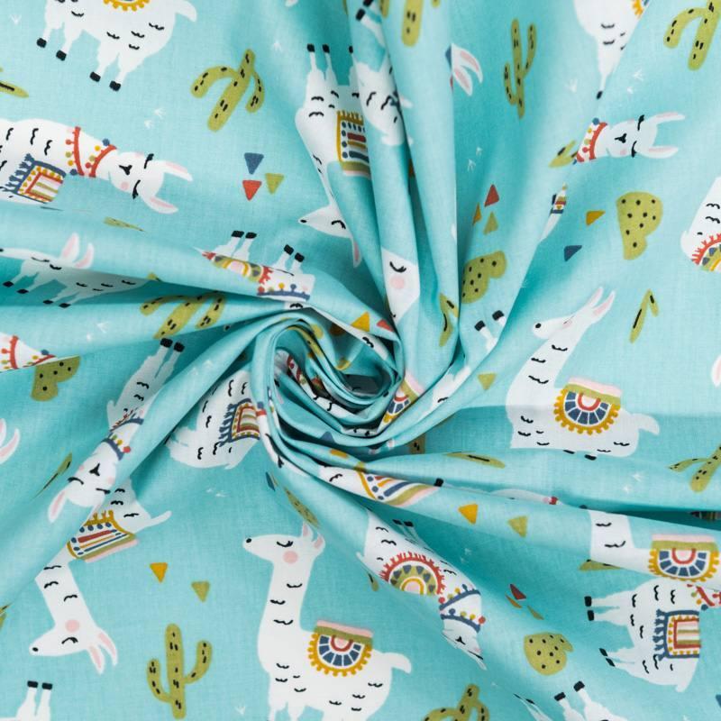 Coton bleu lagon motif lama vert