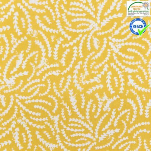 Coton moutarde motif rewa