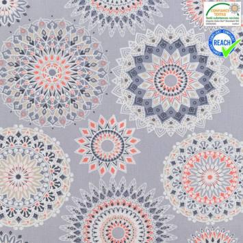 Coton gris motif manija corail