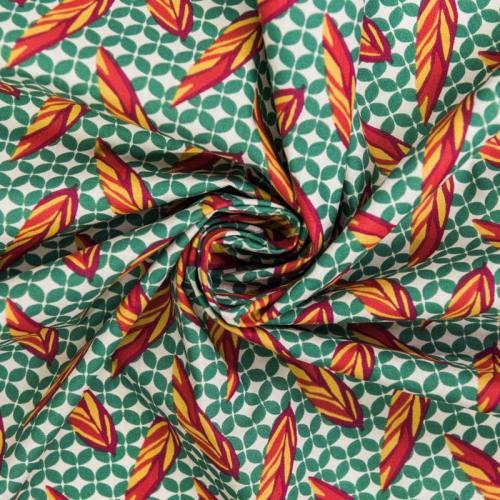 Coton couleur lin motif gunera multicolore