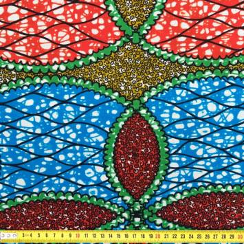 Wax - Tissu africain jaune rouge et bleu 249