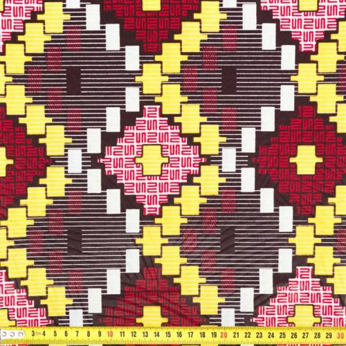 Wax - Tissu africain enduit marron, jaune et rouge 279