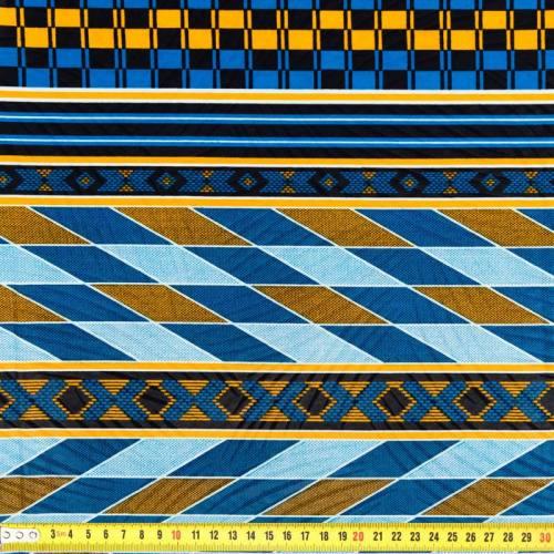 Wax - Tissu africain enduit bleu et jaune 277