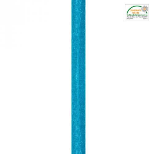 Biais élastique brillant turquoise 15mm