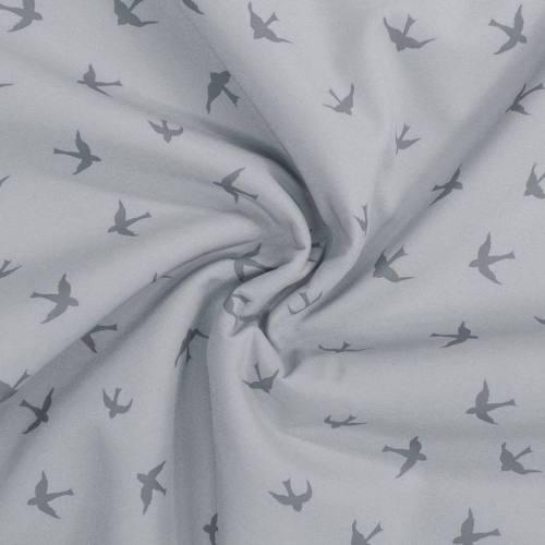 Tissu softshell magique gris motif hirondelle