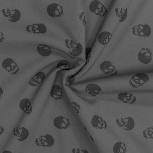 Tissu softshell magique gris motif tête de mort