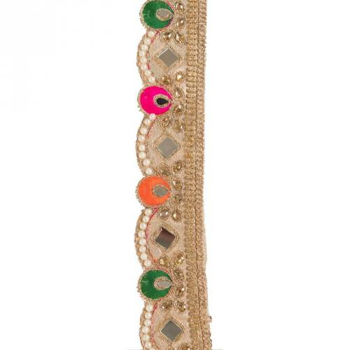 Galon indien multicolores, miroirs et strass