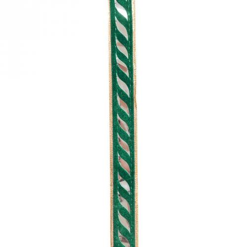 Galon indien doré et vert miroir courbe