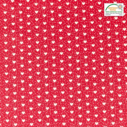 Coton rouge imprimé coeur et point