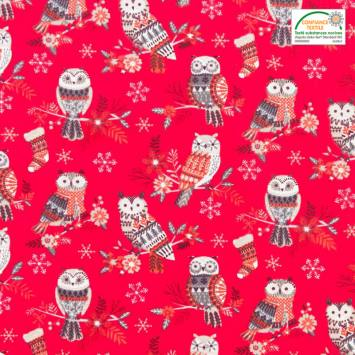 Coton rouge imprimé hibou d'hiver