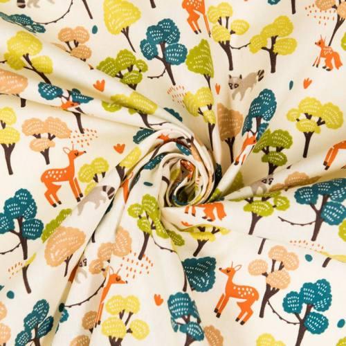 Coton écru imprimés animaux et forêt