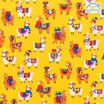 Coton jaune imprimé lama