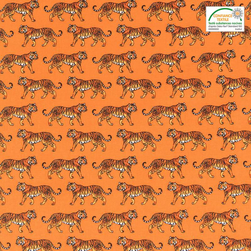 Coton orange imprimé tigre