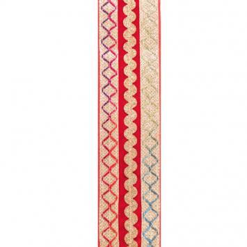 Galon indien rouge broderies multicolores et dorées