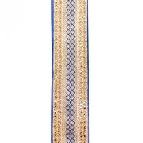 Galon indien bleu broderies bandes sequins dorés