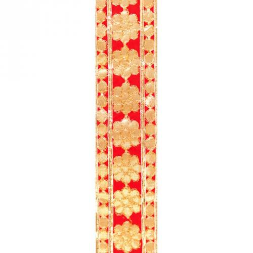 Galon indien rouge broderies fleurs rondes dorées