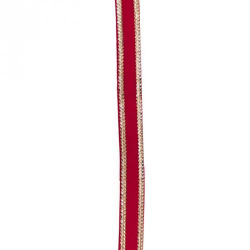 Galon indien velours rouge et chainette dorée