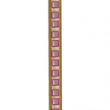 Galon indien doré miroirs carrés roses