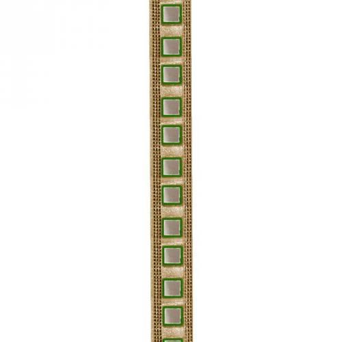 Galon indien doré miroirs carrés verts