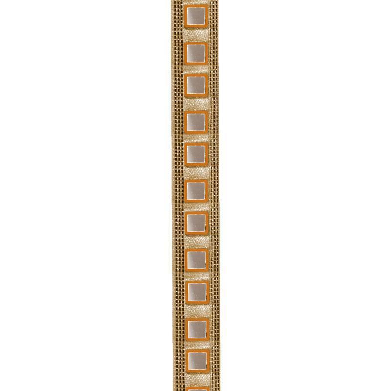 Galon indien doré miroirs carrés orange