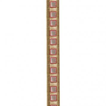Galon indien doré miroirs carrés rouge brique