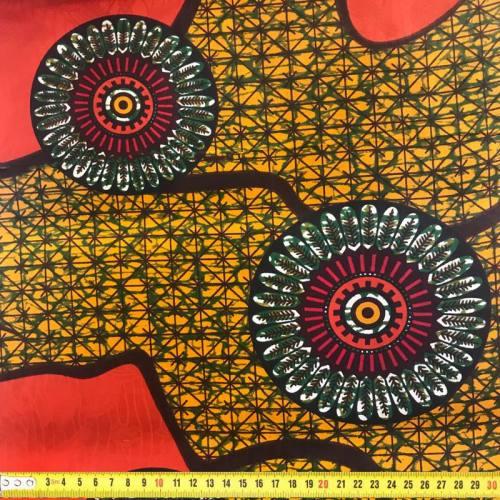 Wax - Tissu africain rouge et ocre à reliefs 276