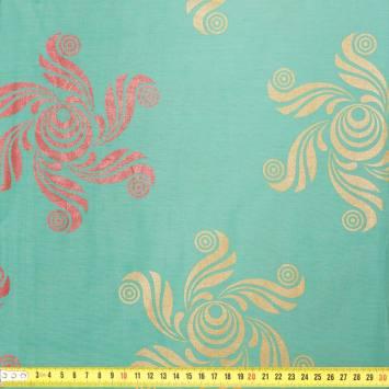 Wax - Tissu africain enduit vert d'eau motif rose et or 51