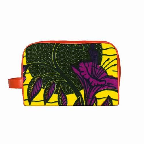 Wax - Tissu africain jaune, vert et violet 151