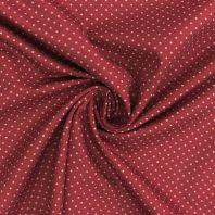 Popeline de coton rouge pois gris