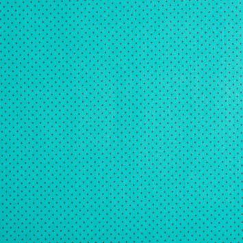 Coton turquoise à petit pois 1mm gris foncé