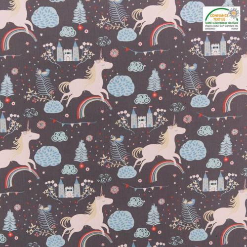 Popeline de coton grise motif licorne
