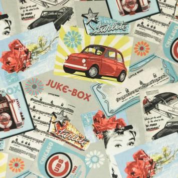 Toile polycoton motif juke-box