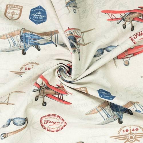 Toile polycoton motif avion vintage
