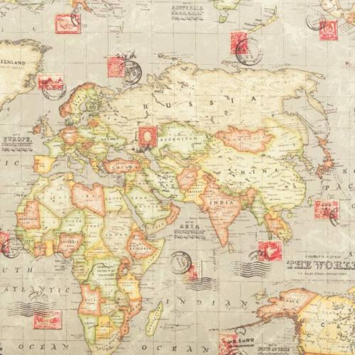 Toile polycoton motif carte du monde vintage