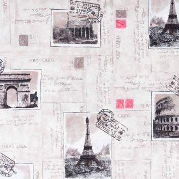 Toile polycoton motif carte postale Paris