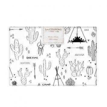 Coupon 40x60 cm Tissu coton à colorier motif cactus