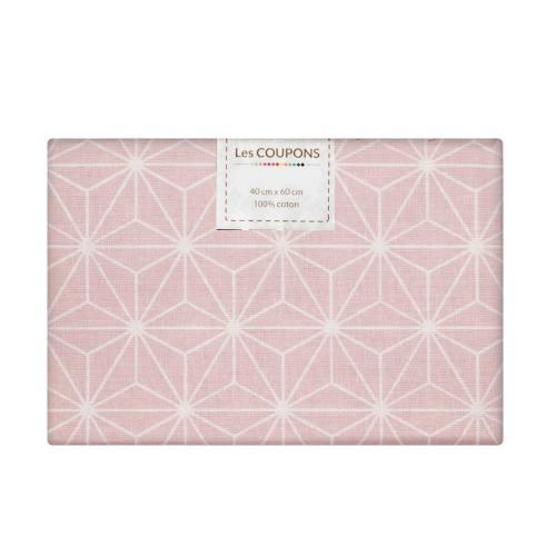 Coupon 40x60 cm coton rose pastel motif asanoha