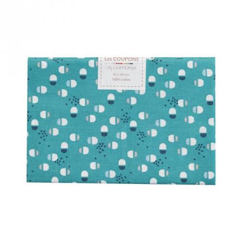Coupon 40x60 cm Coton vert motif torid gris et bleu
