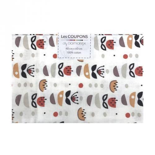 Coupon 40x60 cm Coton blanc et rouge brique anisa