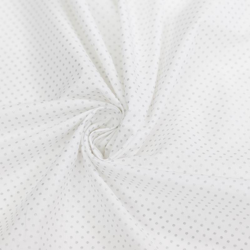 Coton blanc motif pois argent pisani