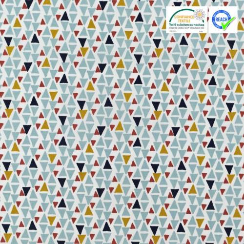 Coton blanc motif triangle bleu modino