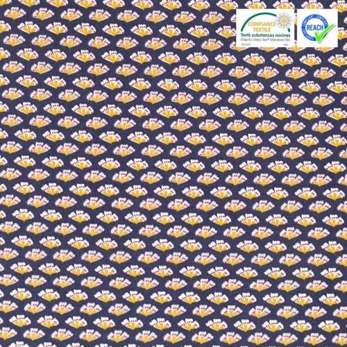 Coton gris motif sriko ocre