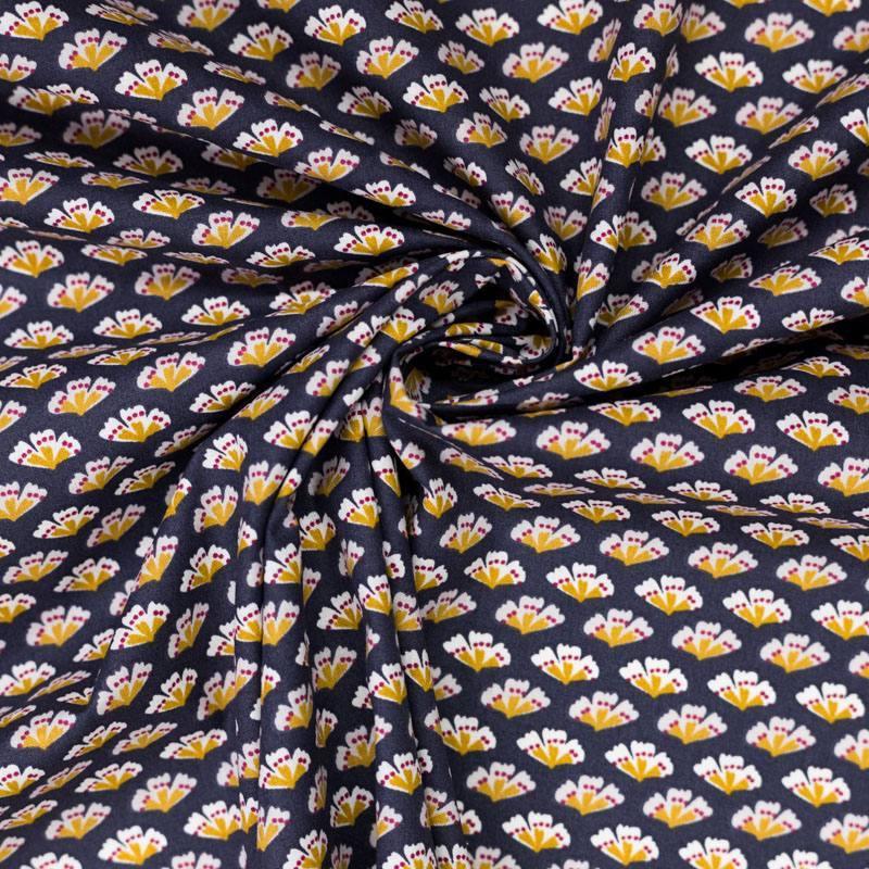 Coton enduit gris motif sriko ocre