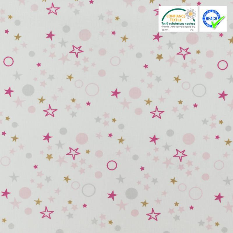 Coton blanc motif étoile rose, grise et dorée celo