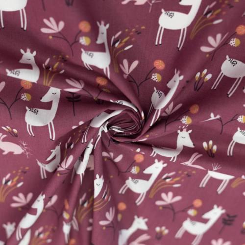 Coton violet motif lapin et biche faola