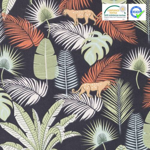 Coton noir motif palmier jangal