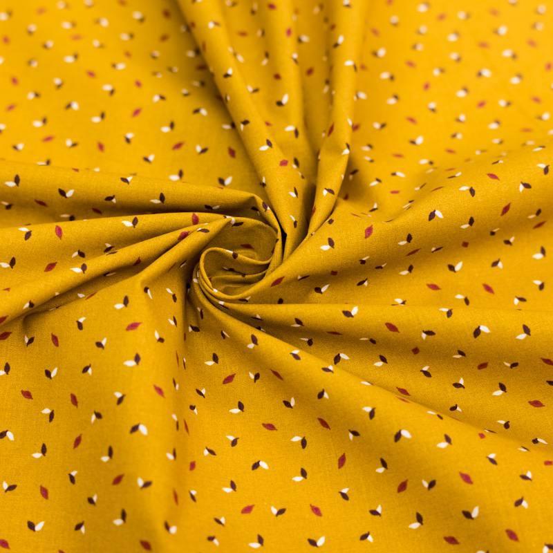Coton ocre motif petite feuille salva