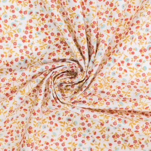 Coton blanc motif petite fleur elenie